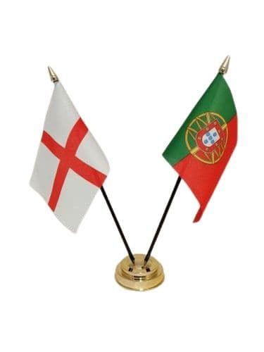 Portugal with England Friendship Table Flag