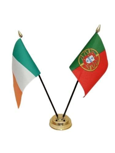 Portugal with Ireland Friendship Table Flag