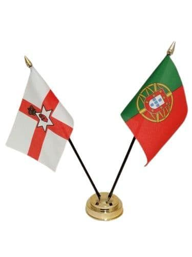 Portugal with Northern Ireland Friendship Table Flag