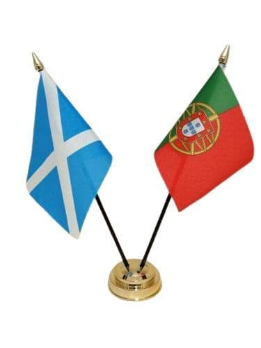 Portugal with Scotland Friendship Table Flag