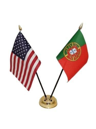 Portugal with USA Friendship Table Flag