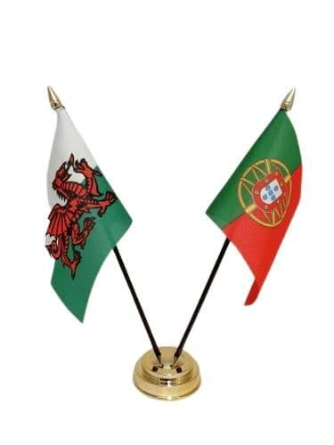 Portugal with Wales Friendship Table Flag