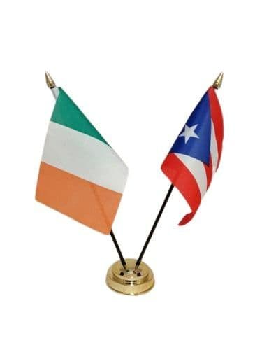 Puerto Rico with Ireland Friendship Table Flag