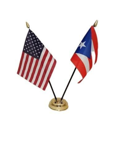 Puerto Rico with USA Friendship Table Flag