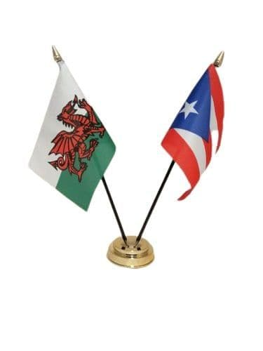 Puerto Rico with Wales Friendship Table Flag