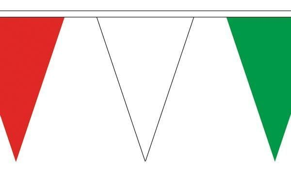 Red, White & Green Triangle Bunting (5m) - 12 Flags