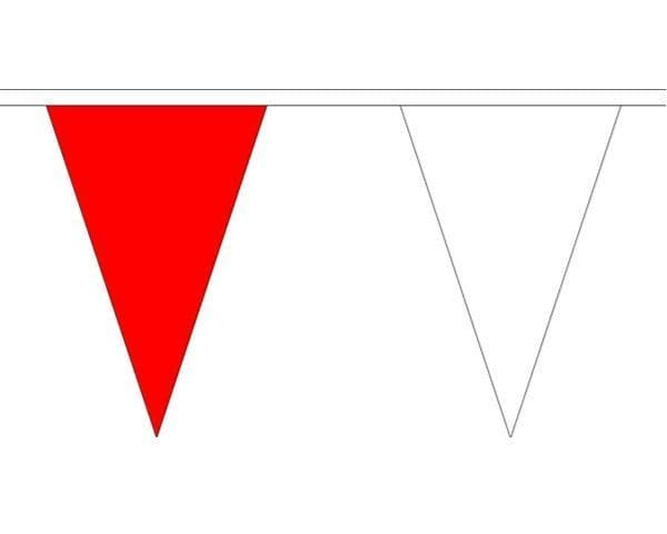 Red & White Triangle Bunting (5m) - 12 Flags