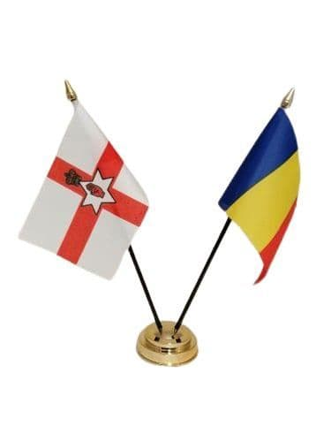 Romania with Northern Ireland Friendship Table Flag