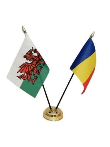 Romania with Wales Friendship Table Flag