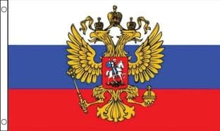 Russia Eagle SLEEVED Flag - 1.5ft x 1ft