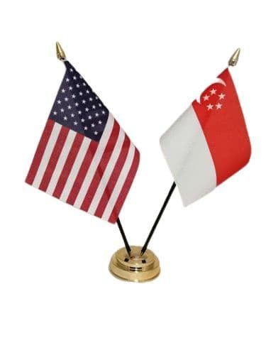 Singapore with USA Friendship Table Flag