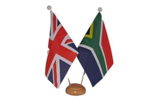 South Africa Friendship Wooden Table Flag