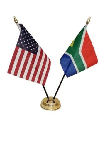 South Africa with USA Friendship Table Flag