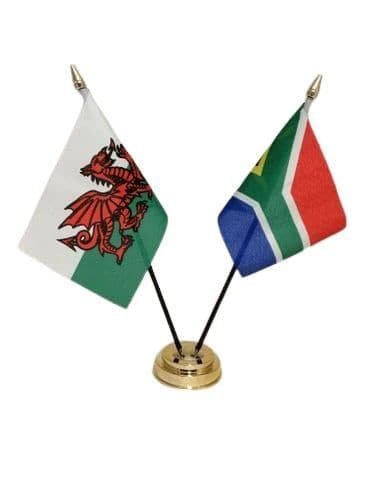 South Africa with Wales Friendship Table Flag