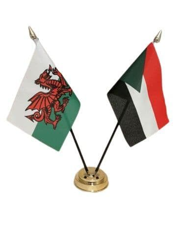 Sudan with Wales Friendship Table Flag