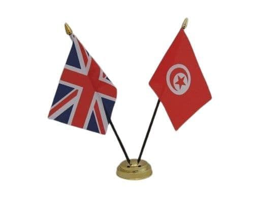 Tunisia with UK Friendship Table Flag