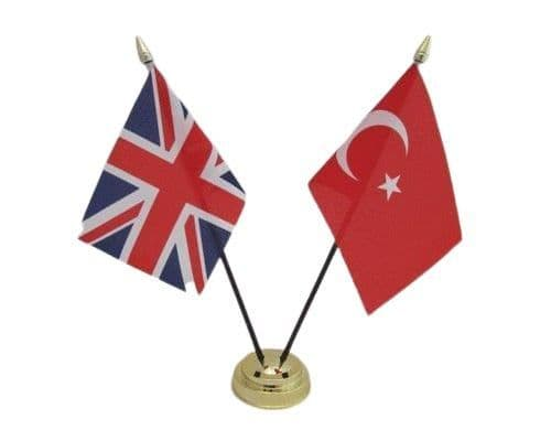 Turkey with UK Friendship Table Flag