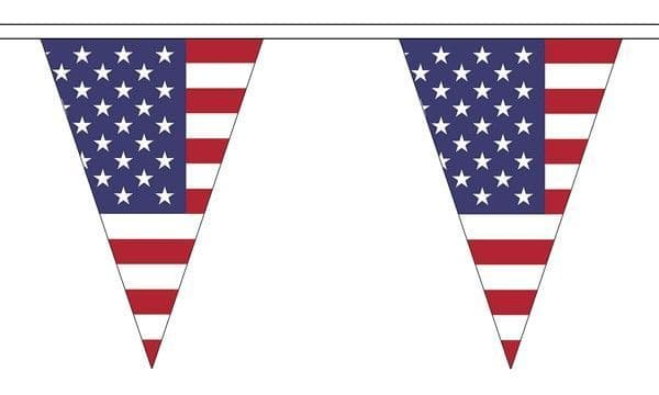 USA Triangle Bunting (5m) - 12 Flags