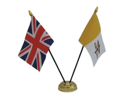 Vatican City with UK Friendship Table Flag