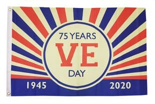 VE Day 75 Years (Design A) 5ft x 3ft Flag