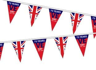 VE Day 75 Years/UK Triangle Bunting (20m) - 54 Flags