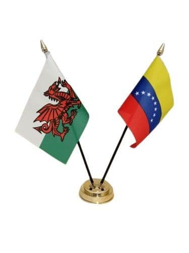 Venezuela with Wales Friendship Table Flag