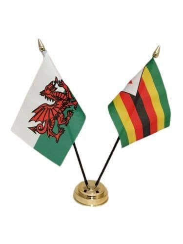 Zimbabwe with Wales Friendship Table Flag