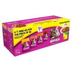 WHISKAS 1+ Cat Pouches Poultry Selection in Jelly 40 for 36 Mega Pack