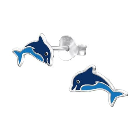 Dolphin - 925 Sterling Silver Colourful Earring Studs Gift For Her, Best friend