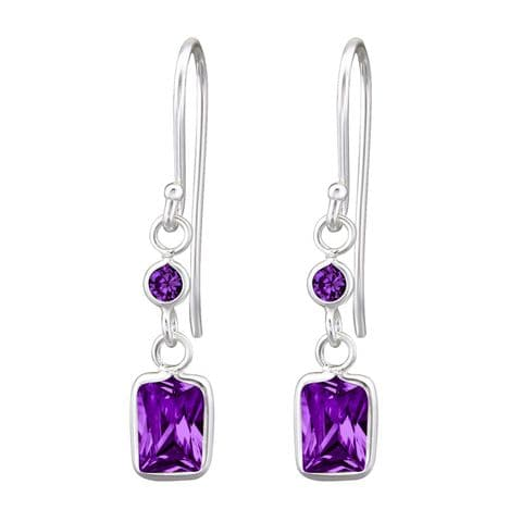 Drop  Rectangle Sterling Silver Cubic Zirconia Earrings For Gift Women's  Braids Made Birthday Gift