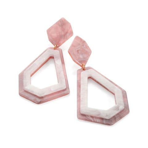 Pink and white tone marble effect drop earring. ER32378