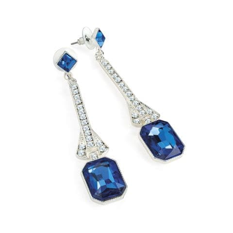 Silver colour crystal and blue drop earring. ER32759