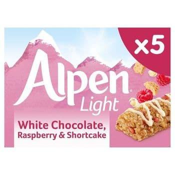 Alpen Light White Choc, Raspberry & Shortcakes 5 Pack 95G