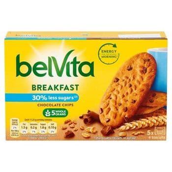 Belvita Breakfast Reduced Sugar Chocolate Chips Biscuit 5 Pack 225G