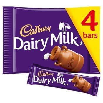 Cadbury Dairy Milk Chocolate Bars X4 144G