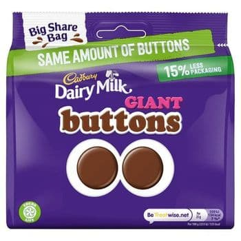 Cadbury Milk Chocolate Giant Buttons Share Bag 240G