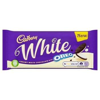 Cadbury Oreo White Chocolate Tablet 120GProduct Description  White chocolate with a vanilla flavour