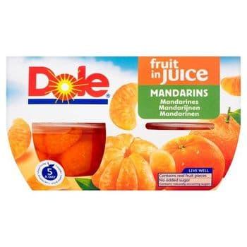 Dole Fruit Bowl Mandarins In Juice 4 X 113G