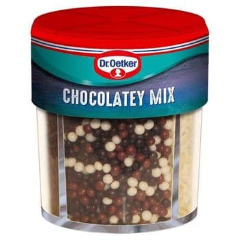 Dr Oetker Chocolatey Mix 4 Cell 74GProduct Description  Mix of Chocolate Flavoured Shapes - Flakes,