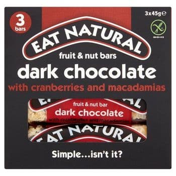 Eat Natural Dark Chocolate Cranberry & Macadamia Bars 3X45g