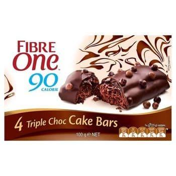 Fibre One Cake Bar Triple Chocolate 4 X 25G