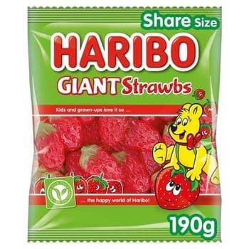 Haribo Giant Strawbs 190G Bag