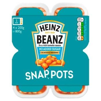Heinz Baked Beans No Added Sugar 4 Pack 4 X 200G