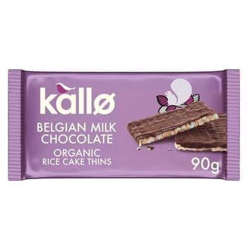Kallo Organic Milk Chocolate Thin Rice Cakes 90G