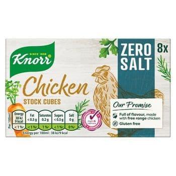 Knorr 8 Zero Salt Chicken Stock Cubes 72G