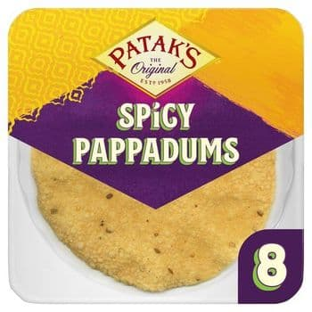Pataks Spiced Ready To Eat Papadums 8 Pack