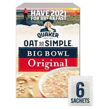 Quaker Oat So Simple Big Bowl Original Porridge 6 Pack 231GEach 38.5g sachet with 245 ml of semi-ski
