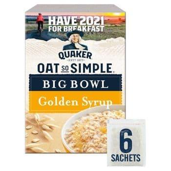 Quaker Oat So Simple Big Golden Syrup Porridge 6 Pack 298G