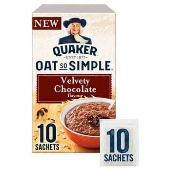 Quaker Oat So Simple Velvety Chocolate Porridge 10 Pack 365G