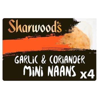 Sharwoods 4 Mini Naan Garlic & Coriander 260G